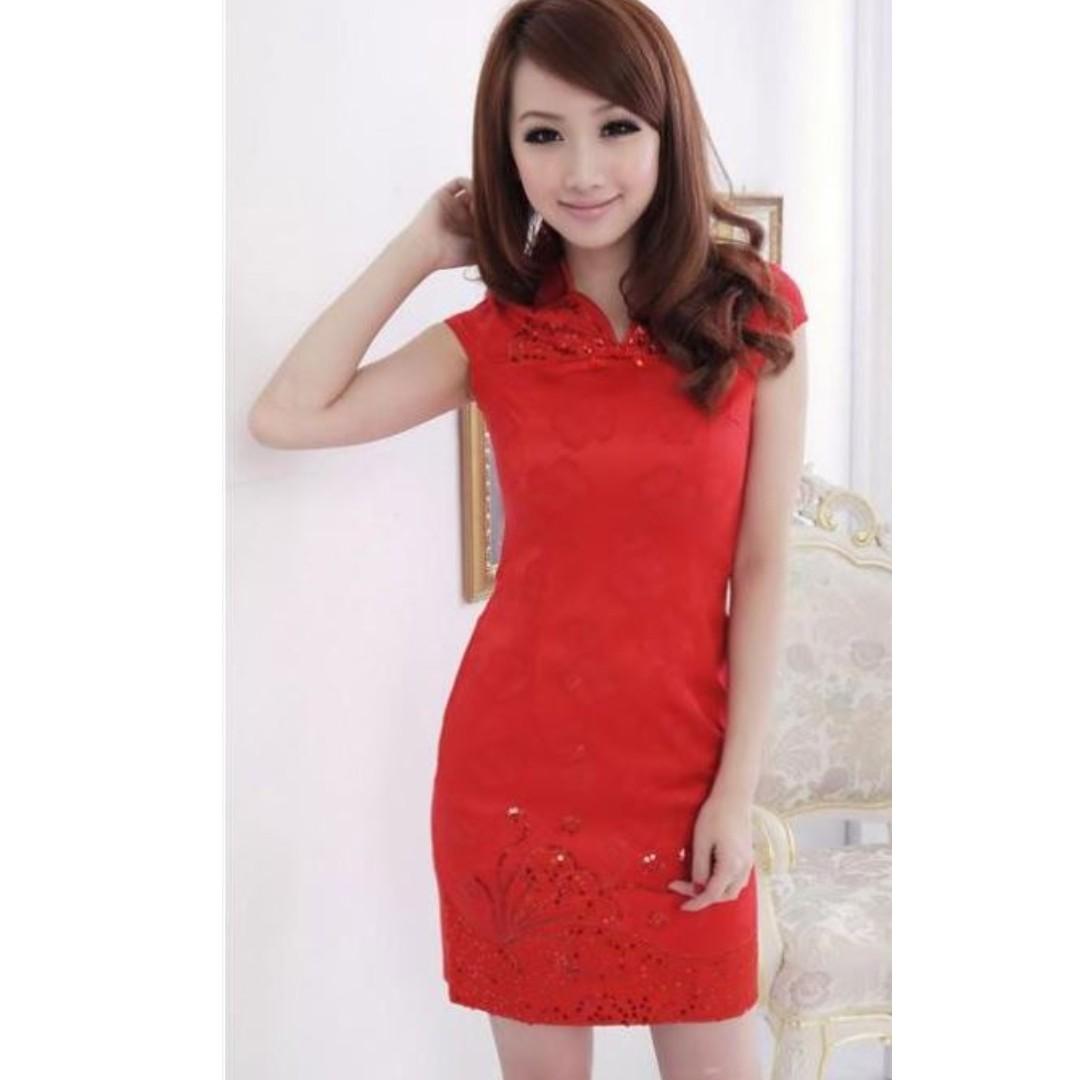 Sales !! CNY Chinese QIPAO Cheongsam mandarin collar red dress ... 45a46f8d6