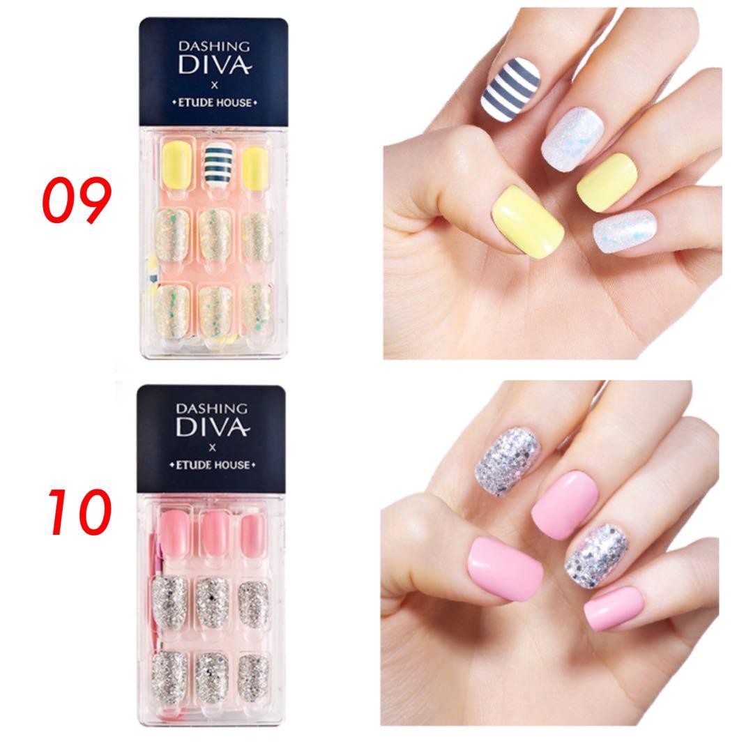 Dashibg Diva x Etude House Magic Press On Nails Set, Preloved Health ...