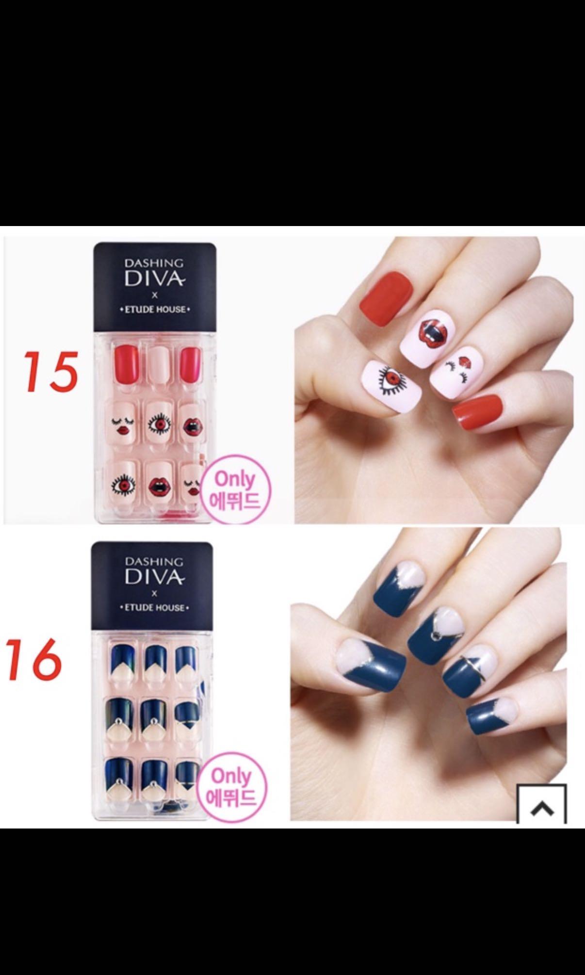 Dashing Diva x Etude House Magic Press On Nails Set, Preloved Health ...