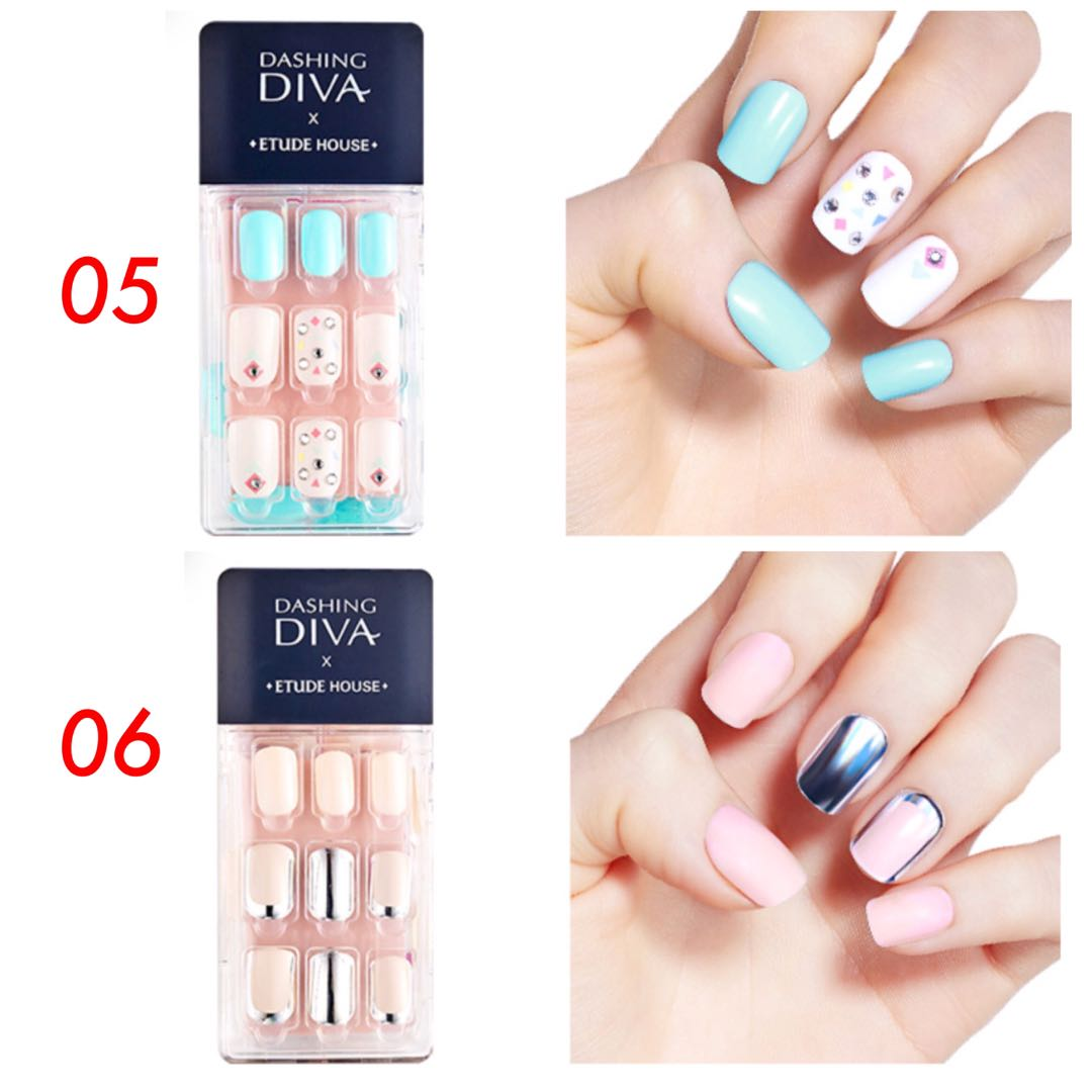 Dashing Diva x Etude House Magic Press On Nails Set, Preloved Health ...