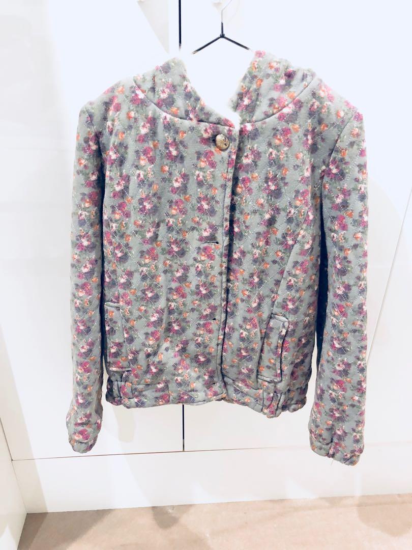 Floral - rabbit fur jacket hoodie
