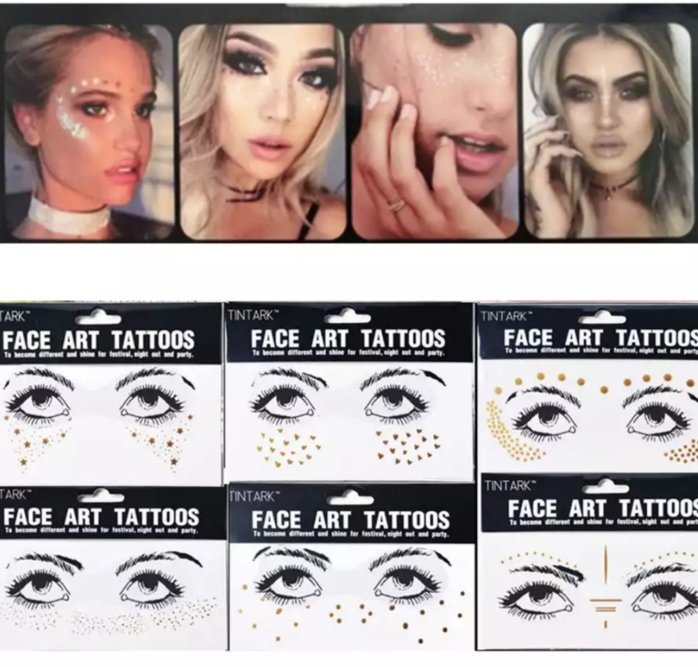 650a246ec3f9b Gold Face Tattoo Stickers, Health & Beauty, Makeup on Carousell