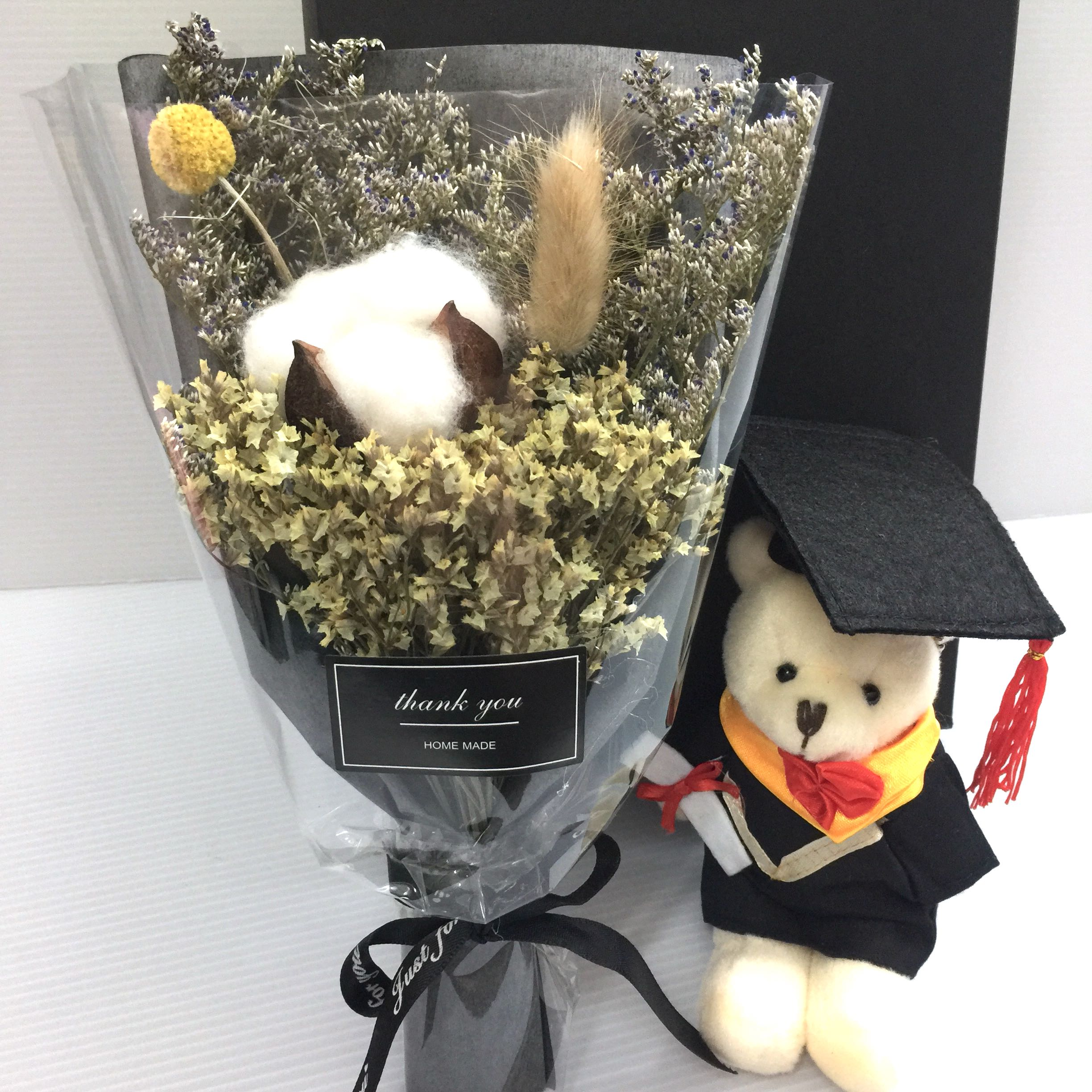 Graduation Bouquet - Dried Flowers with Graduation Bear in box ...