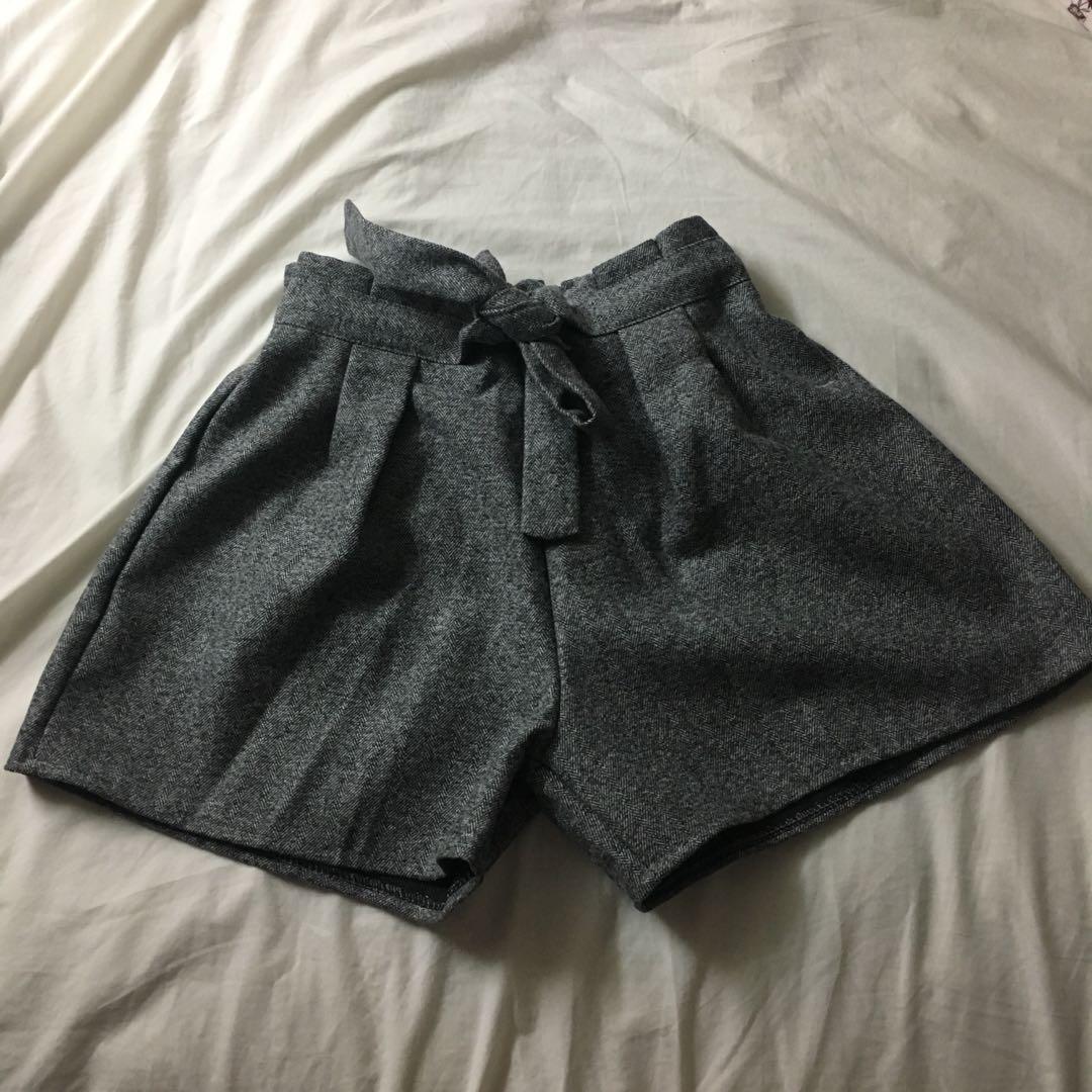 Grey paper bag shorts