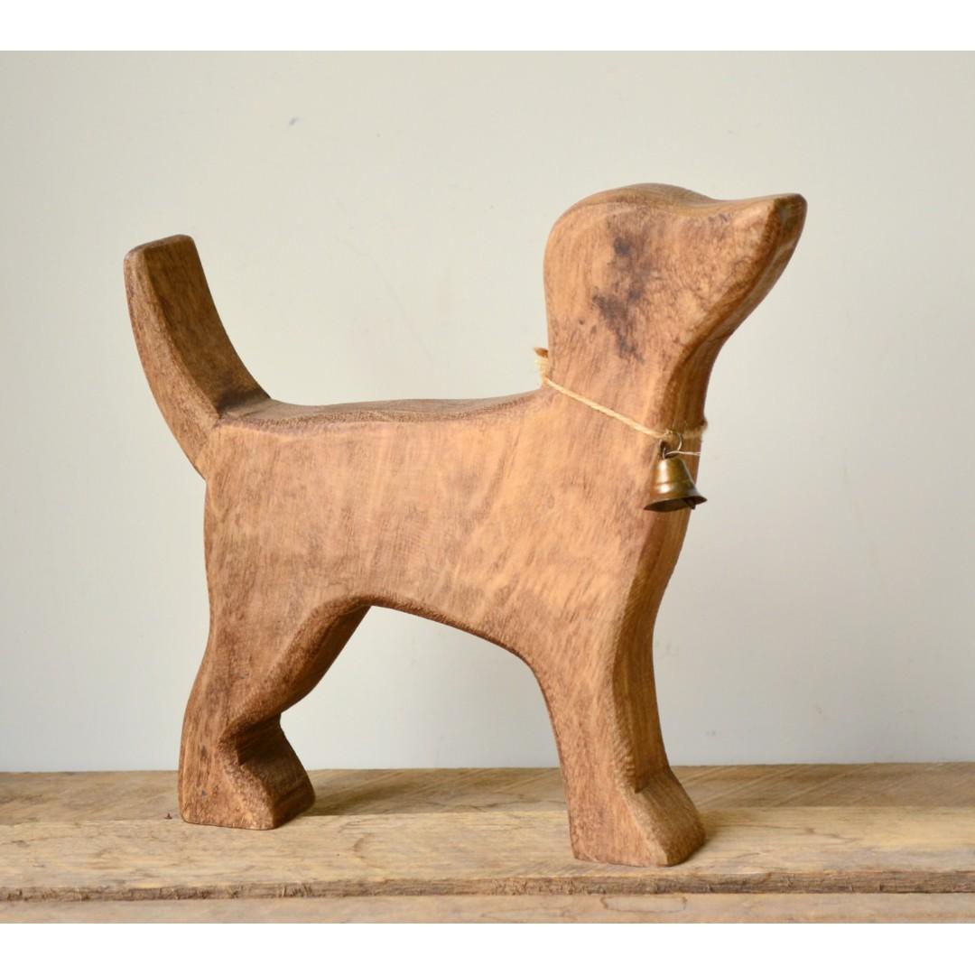 Handmade Mango Wood Standing Timber Dog Statue