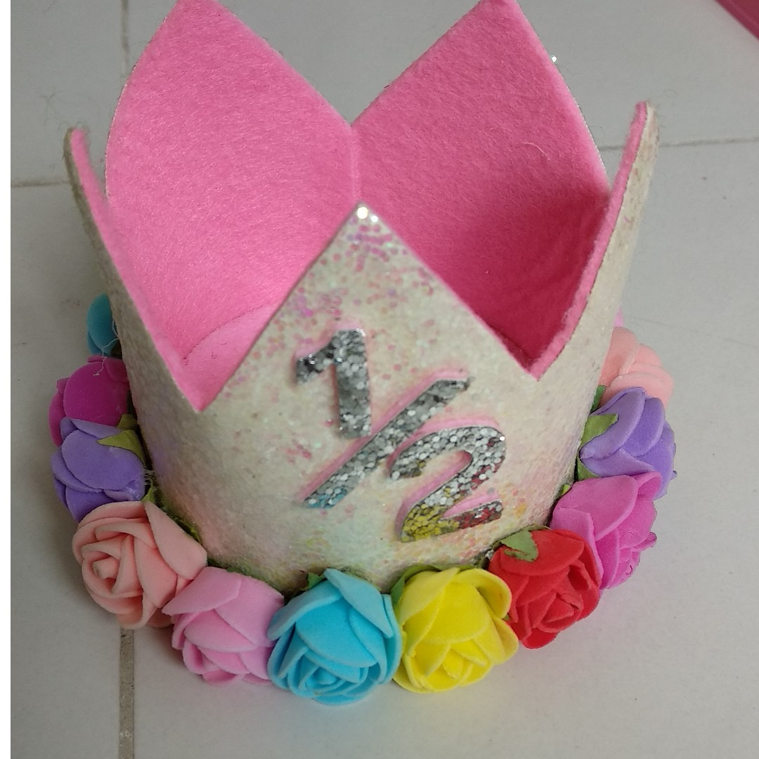 Imported Happy Birthday Crown With Flowers For Half Year Of Baby Babies Kids On Carousell