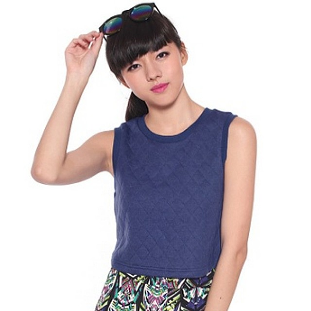Love Bonito Orlina Quilted Crop Top in Blue