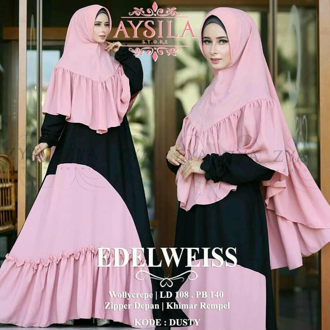 Mf 0318 Dress Gamis Busana Muslim Wanita Edelweiss Syari Plus Khimar Olshop Fashion Olshop Muslim Di Carousell