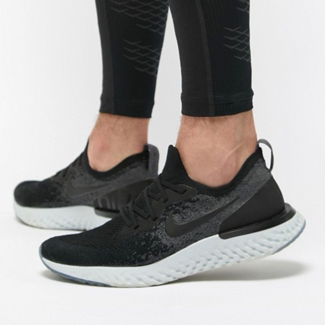 9a297067372d AUTHENTIC NIKE EPIC REACT FLYKNIT (BLACK BLACK DARK GREY PURE PLATINUM)
