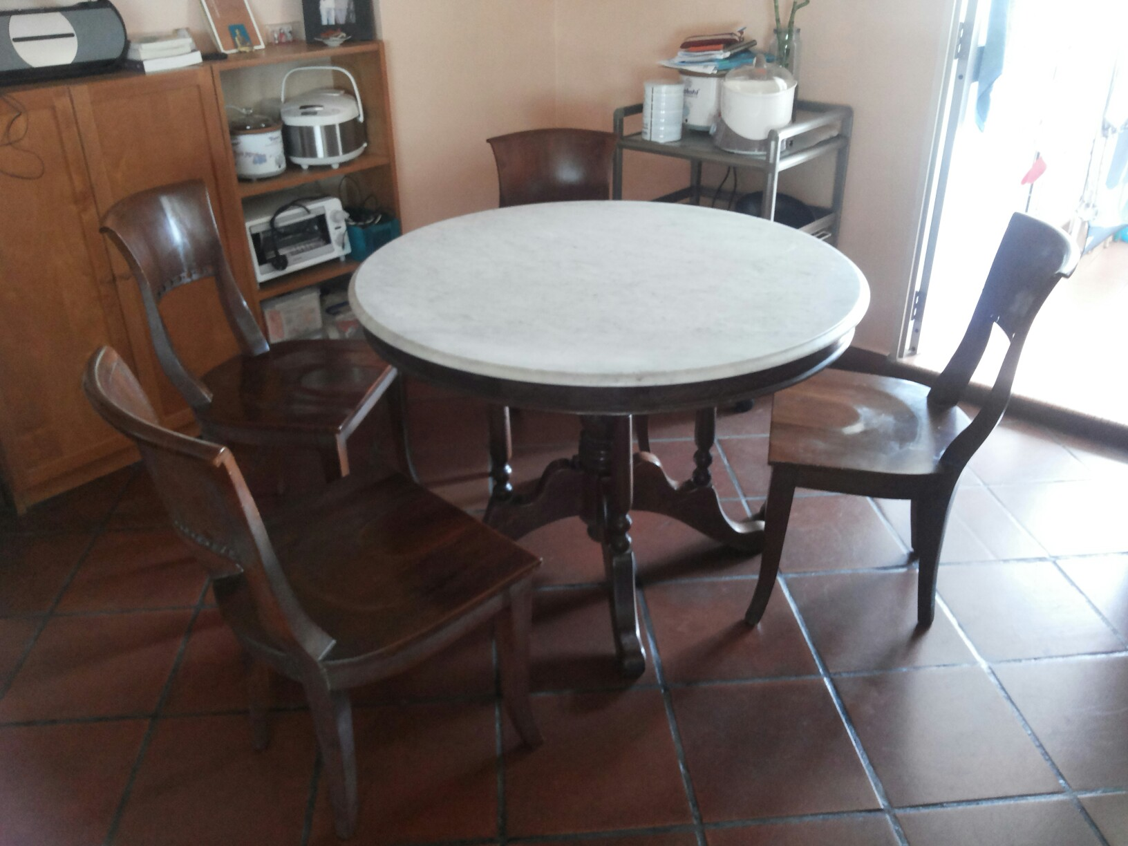 Old Marble Kopitiam Table Set Furniture Tables Chairs On Carousell
