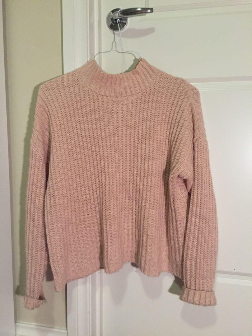 Pink/ blush smock neck jumper