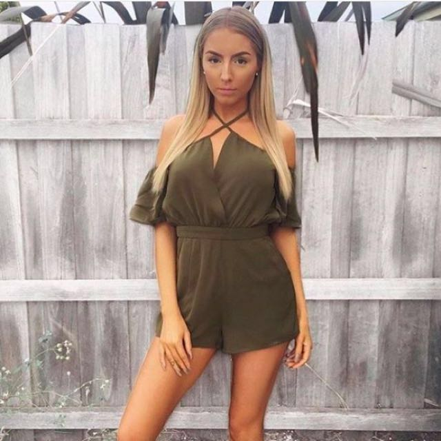 Runaway the Label Khaki playsuit / rompers size 8