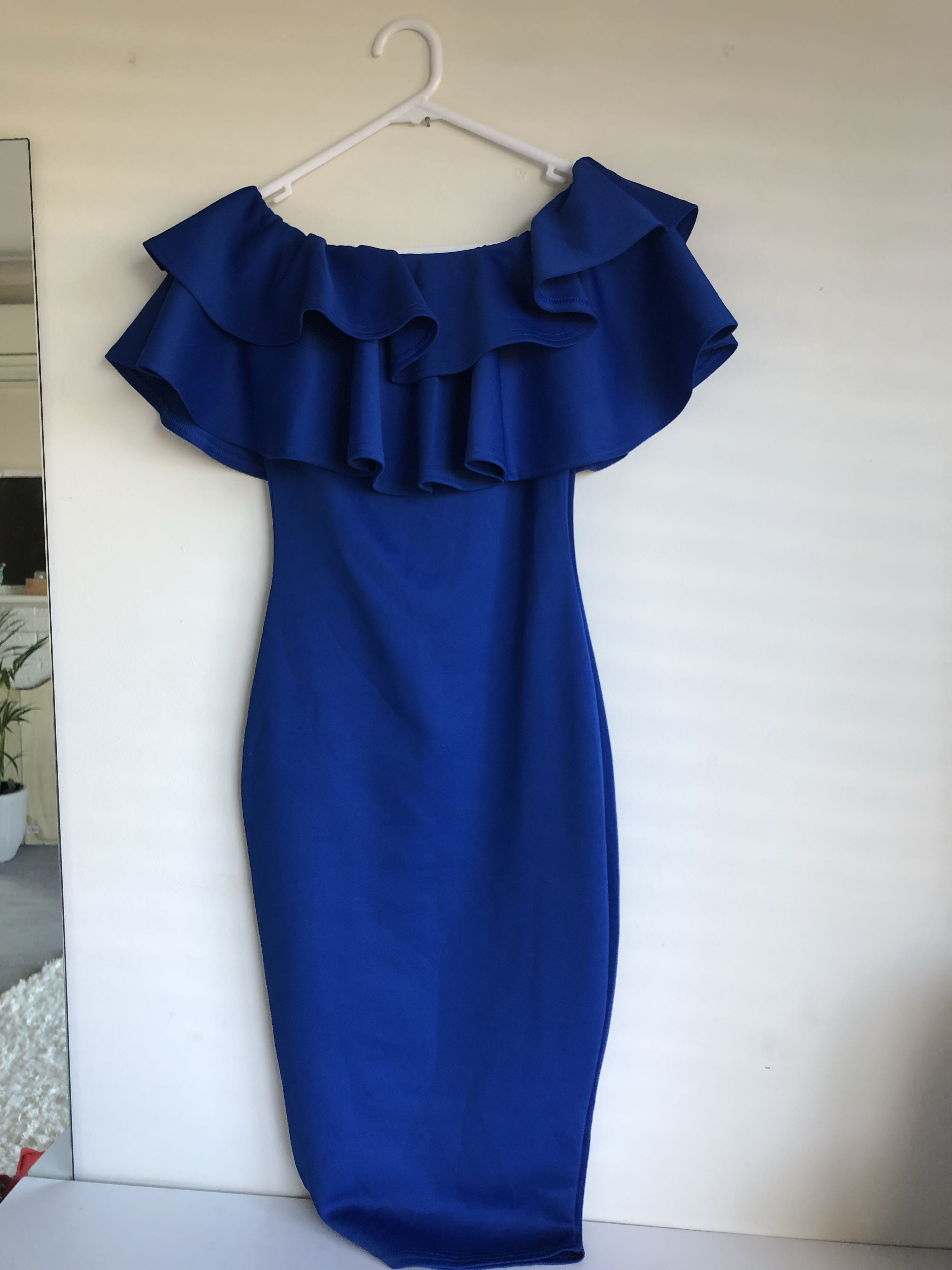 💙Sapphire blue frilly off shoulder dress