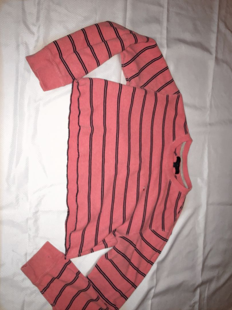 Tommy Hilfiger Cropped Long Sleeve (coral and navy blue)