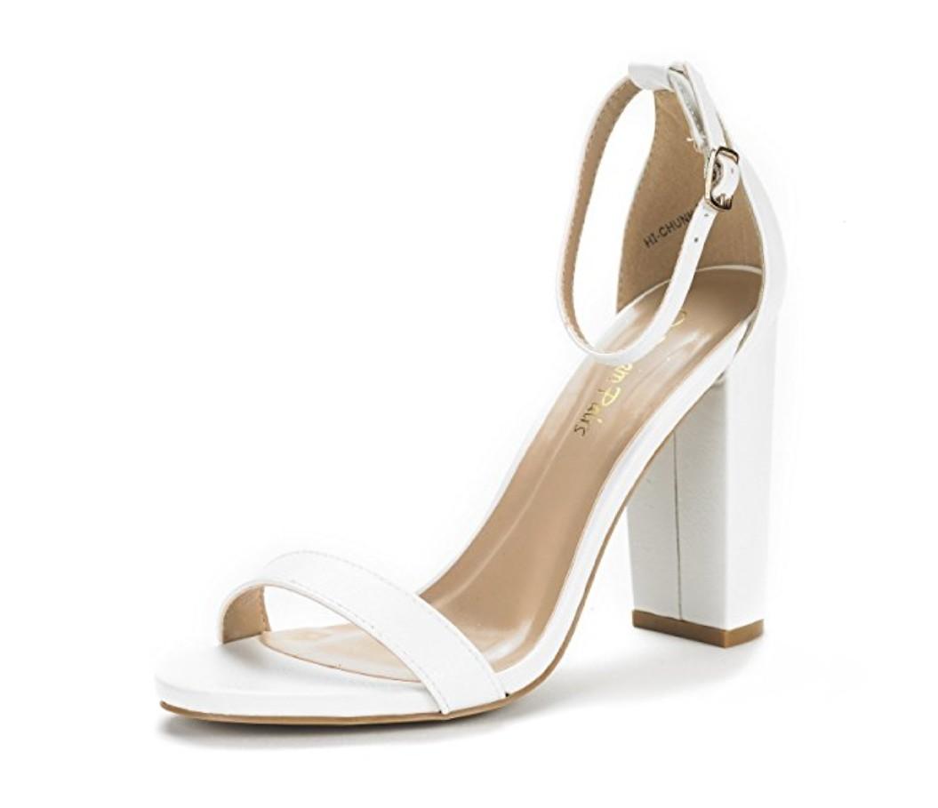 White open toe block heels sandals