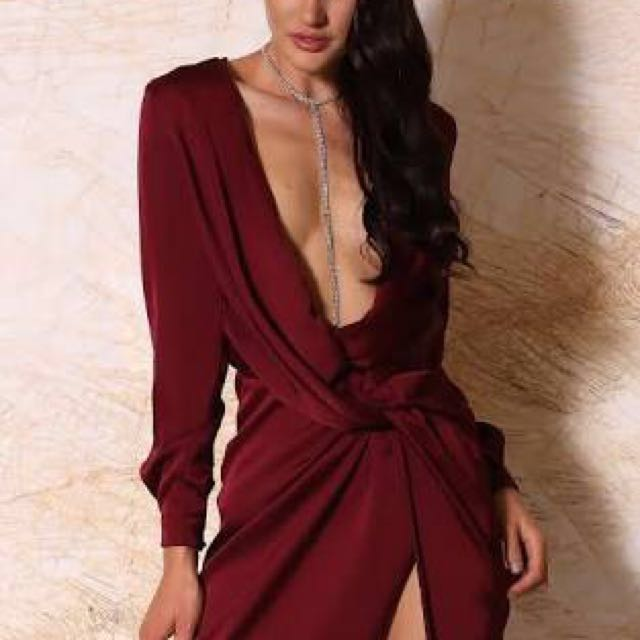 Wine red satin wrap dress