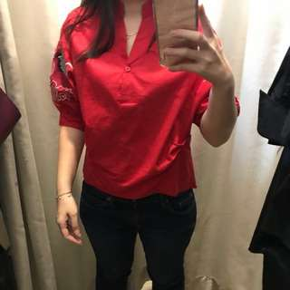 Red Embroidery Top / Baju Merah Bordir