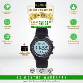 Buruj Watches Jam Tangan Solat Kompas Kiblat Black Sesuai Hadiah dan Hantaran