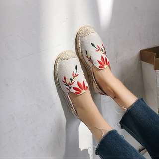 Flower Flora Straw Shoes