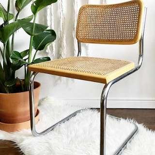 Vintage Marcel Breuer Cesca Style Cane + Chrome Cantilever Chair