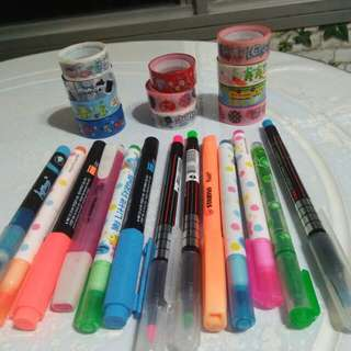 all for $5   HIGHLIGHTERS AND MINI WASHI TAPES DUO