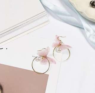 粉紅蝴蝶耳環
