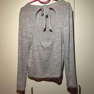H&M backless knitted lace up grey sweater Top