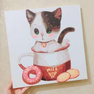 🐱(💯DIY) 慈善30*30數字油畫 - 花臉貓