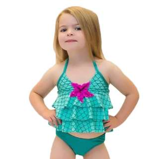 Hot Summer Toddler kids Halter Bikini set Cute baby girls Ruffles Green swimsuits Beach Wear Children 2-7Y Swimming clothing