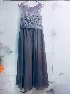 💜紫灰色透視網紗背心長裙👗姊妹裙/晚禮服💃🏻