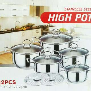 Panci HIGH POT Steamer 12pcs Stainlees steel tutup kaca