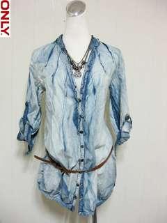 🚚 美國【ONLY】超個性水洗藍二手感長版襯衫S
