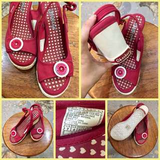 Sketchers Wedge Red Fabric Sandal