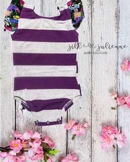 Purple-Gray Stripes Baby Romper