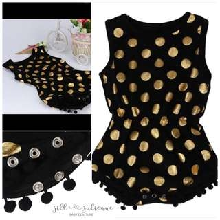 ALTHEA Black-Gold Polka Baby Romper