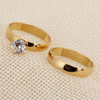 Engagement Ring Set 24K Gold Plated