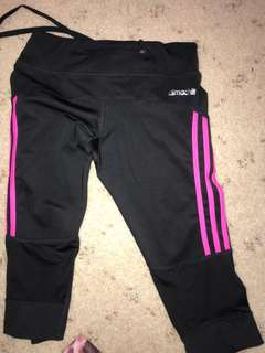 Adidas 3 pink stripes  1/3 legging