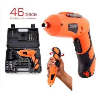 NEW Cordless Screwdriver Drill Tools Set Drill G0515-OR