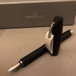 Faber-Castell Fountain Pen, Medium Nib, Black Leather