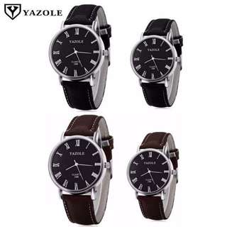 Yazole Couple Watches with Leather Strap