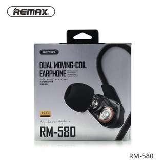 [BNIB SEALED] REMAX RM-580 (Black) Hi-Fi Earphone With Dual Moving-Coil