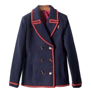 PO - Butterfly Deep Blue Double Breasted Embroidery Elegant Wool Coat