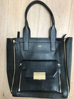 Vince Cameron Black Leather Tote NEW