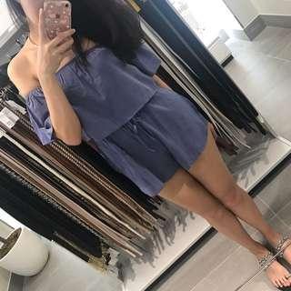 🚚 超美藍紫色一字領露肩連身褲連身短褲荷葉袖卡肩上衣短褲荷葉袖套上衣