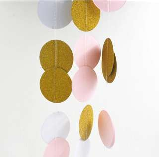 Pink gold and white circle bunting