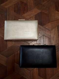 EVENING BAGS UNIQUE, BLACK, GOLD SLING BAG/POUCH