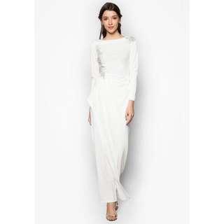 Zalia Lace Applique Cascade Dress
