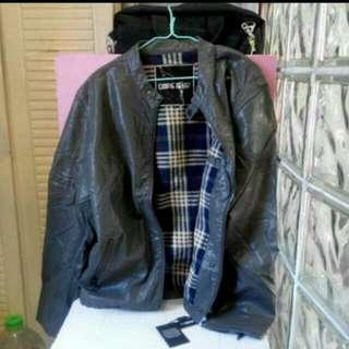 CONIC,浅黑灰合成皮夹克外套,L碼