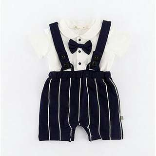 BN FREE MAIL Baby Romper Black Stripe