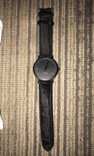 Ladies black faux fur watch